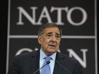 Defense Secretary Leon Panetta at NATO talks-10933