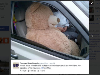 Woman uses teddy bear as car pool lane passenger