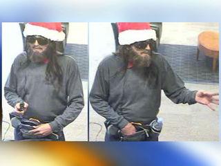 Man wearing Santa hat, fake beard robs bank