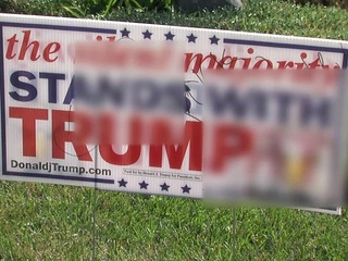 Vandals egg home, deface Trump sign