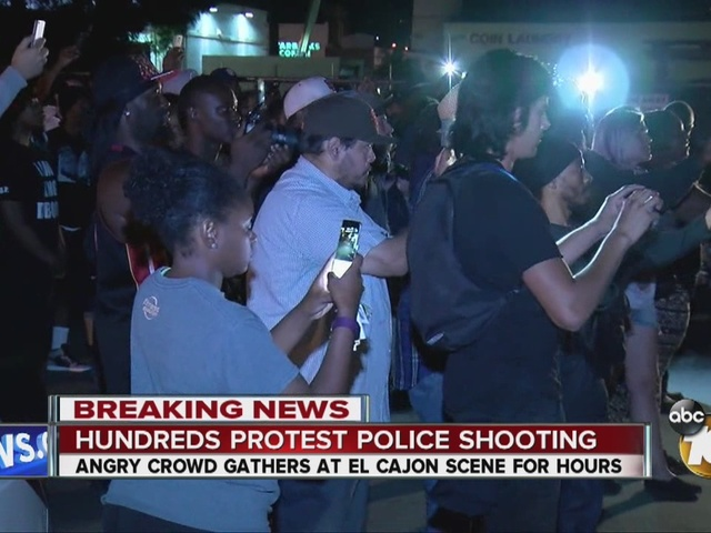 Hundreds protest El Cajon police shooting