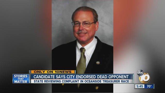 Dead city treasurer wins re-election in Oceanside