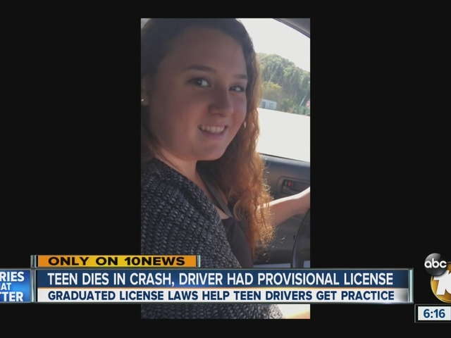 Teen killed in car crash; driver only had provisional driver's license