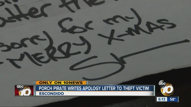 Package thief posts apology letter on victims front door 10News