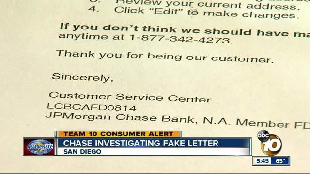 Chase Investigating Fake Letter To San Diegan