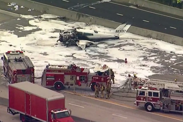 Two wounded after small plane crashes on Southern California freeway