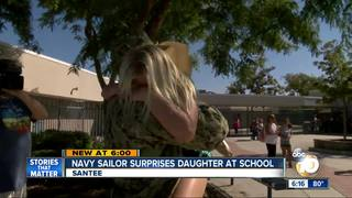 Navy sailor surprises daughter after deployment