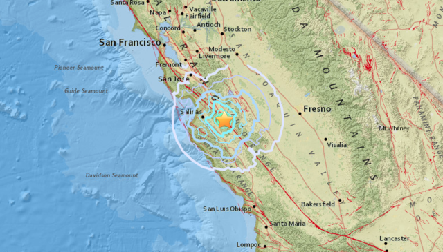 Earthquake Strikes Central California Town Of Gonzales - Map of central california