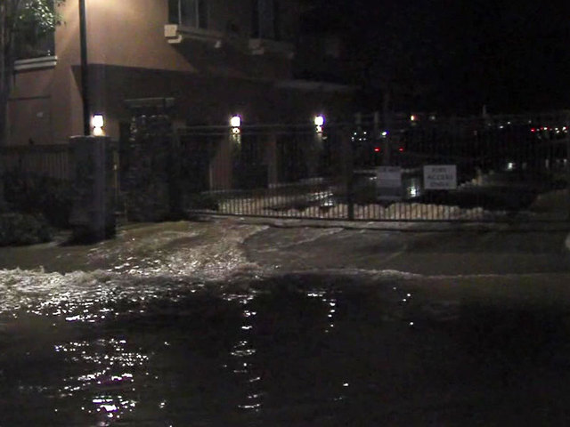 Water main break floods Mission Valley apartment complex