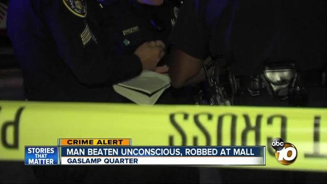 Man beaten unconscious- robbed at Horton Plaza mall
