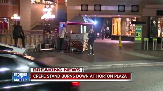 Crepe stand burns down at Horton Plaza