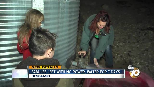 Families left with no power- water for 7 days