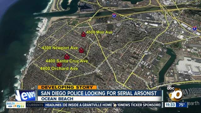 Police search for possible serial arsonist after Ocean Beach fires
