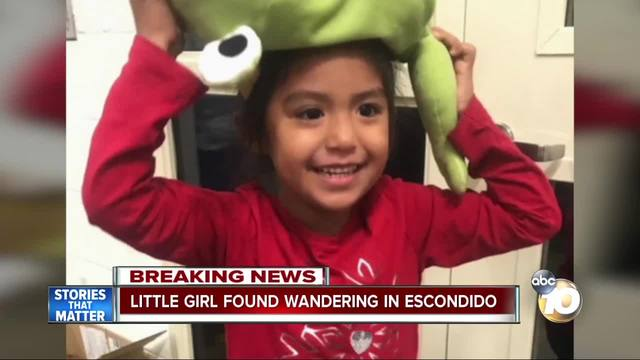 Little girl found wandering alone in Escondido