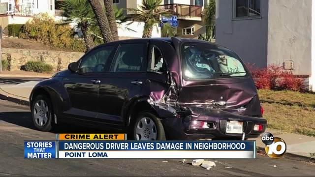 Dangerous driver leaves damage in Point Loma