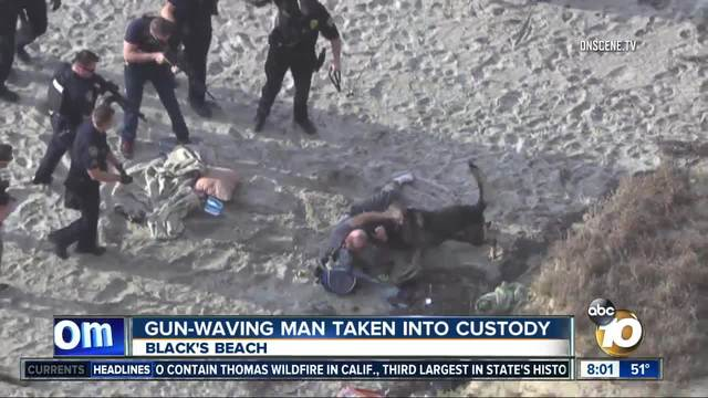 Man arrested at Blacks Beach after waving gun in the air
