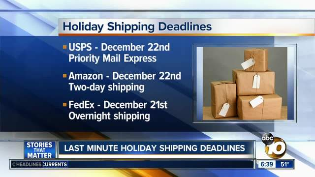 Holiday shipping deadlines are this week