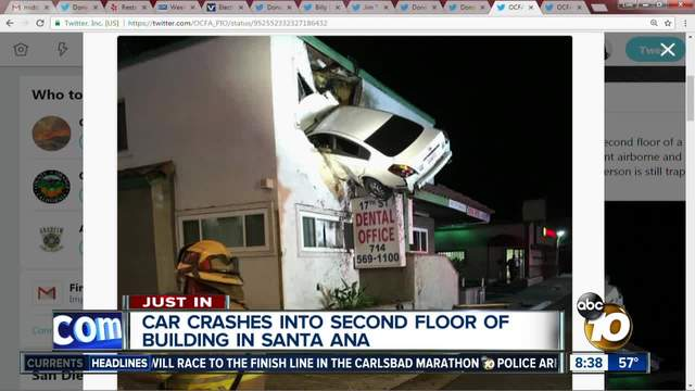 Speeding Car Goes Airborne, Crashes Into 2nd Floor Of California Building