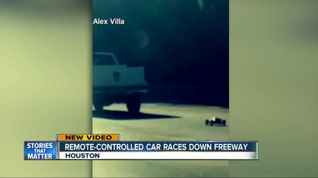 Remote controlled car is video-recorded driving on highway in Texas