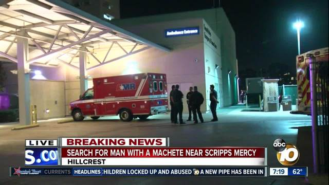 Police searching for man with machete outside Scripps Mercy Hospital