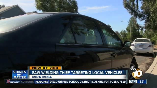 Saw-wielding thief targets vehicles