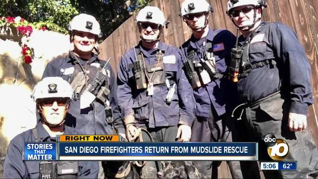 San Diego firefighters return from mudslide rescue