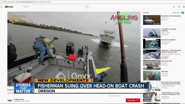 Heart-stopping boat collision forces fishermen to jump ship