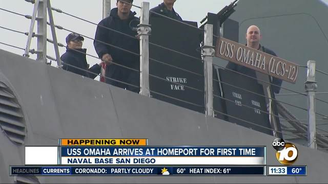 USS Omaha arrives at homeport in San Diego for first time
