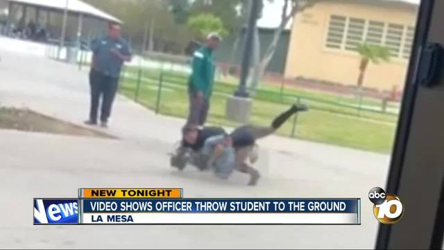 Schoolgirl bodyslammed to the ground by cop