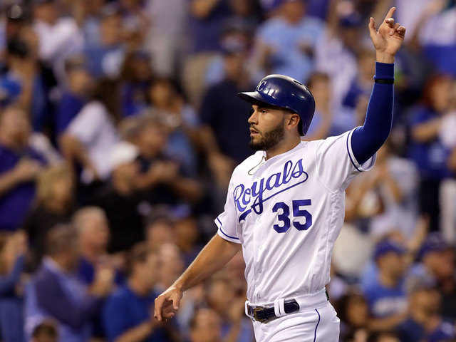 Eric Hosmer 35 Of The Kansas City Royals Celebrates As He Crosses Home Plate To Score During 4th Inning Game Against Colorado Rockies At