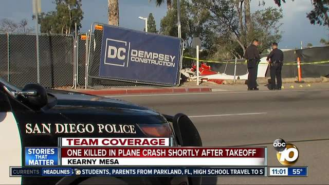 Pilot killed after small plane crashes in San Diego