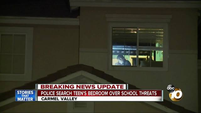 Police search teen-s bedroom over school threats