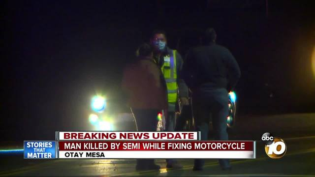 Motorcyclist hit- killed by semi in Otay Mesa