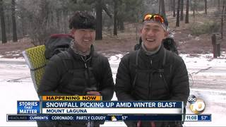 Snowy Day Impacts Korean Hikers on Mt. Laguna