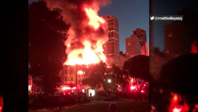 Crews battle large fire at San Francisco commercial building