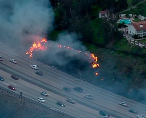 Spot fires erupt near homes in La Mesa