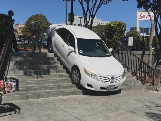 Wrong turn: Uber driver gets stuck on steps
