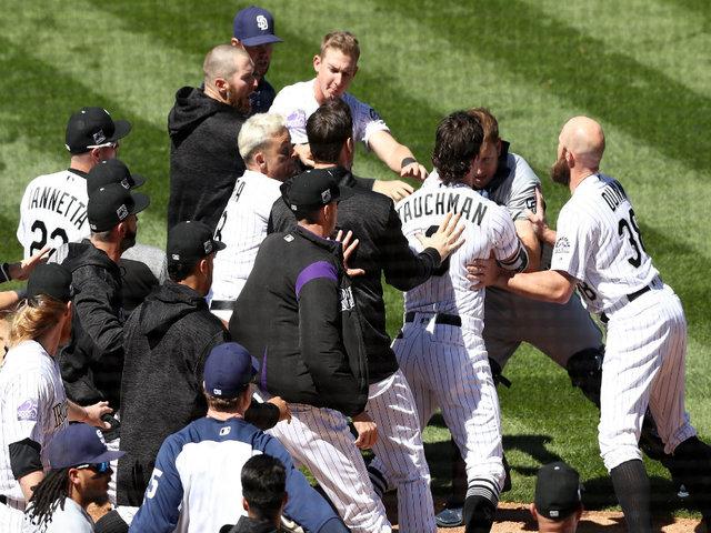 Nolan Arenado charges Padres' Luis Perdomo after message pitch