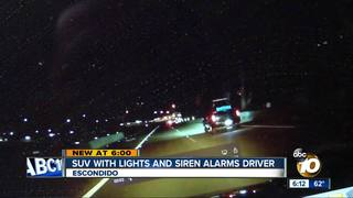 SUV's siren, lights alarms North County driver