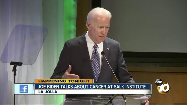 Joe Biden talks about cancer at Salk Institute