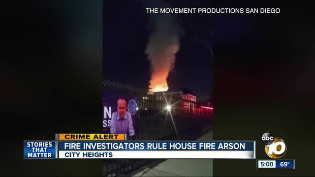 City Heights fire ruled an arson