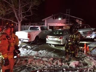 Car crash sparks house fire in Mira Mesa