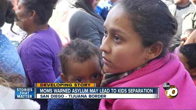 First women, children from Central American 'caravan' enter United States seeking asylum