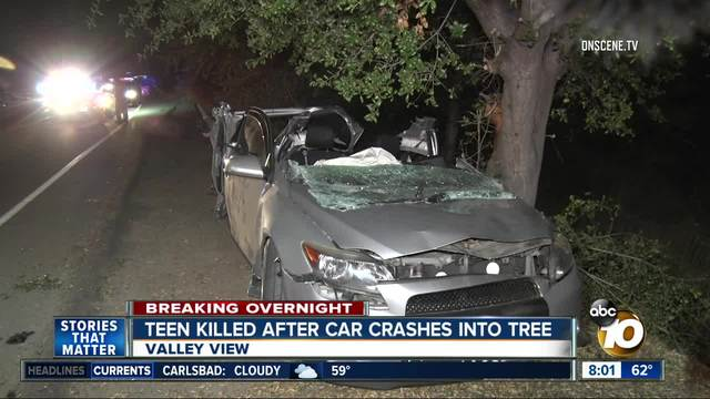 Teen killed after car crashes into tree in Valley Center
