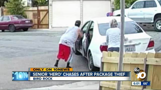 Senior -hero- spies package thief- jumps into action