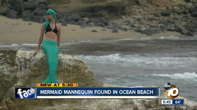 mermaid mysteriously placed on the rock at sunset cliffs 10news