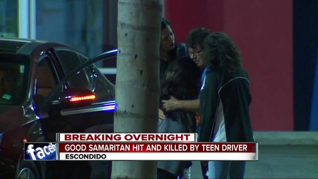 Man pushing stalled vehicle hit- killed by teen driver in Escondido