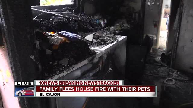 Family- pets escape house fire in El Cajon