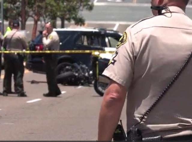 Motorcyclist slams into deputy's SUV