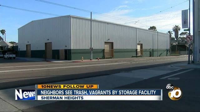 Neighbors see trash- vagrants by storage facility